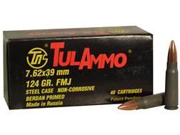 TulAmmo Ammunition 7.62x39mm 124 Grain Full Metal Jacket (Bi-Metal) Steel Case Berdan Primed Box ...