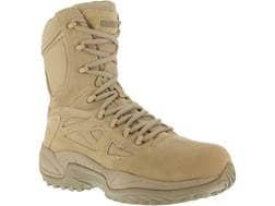 """Reebok Rapid Response RB 8"""" Side-Zip Composite Safety Toe Tactical Boots Leather/Nylon Men's"""