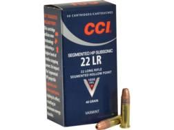 CCI Quik-Shok Ammunition 22 Long Rifle Subsonic 40 Grain Plated Lead Hollow Point