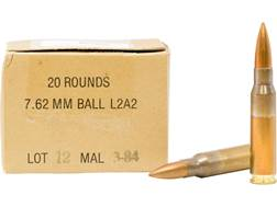 Military Surplus Malaysian Ammunition 7.62x51mm 146 Grain Full Metal Jacket Berdan Primed Box of 20