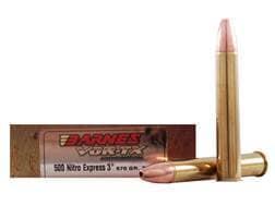 Barnes VOR-TX Safari Ammunition 500 Nitro Express 570 Grain TSX Hollow Point Flat Base Lead-Free ...