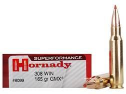 Hornady Superformance GMX Ammunition 308 Winchester 165 Grain GMX Boat Tail Lead-Free Box of 20