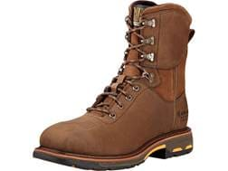 """Ariat Workhog 8"""" Waterproof Square Composite Safety Toe Work Boots Leather Oily Distressed Brown ..."""