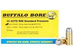 Buffalo Bore Ammunition 45 Auto Rim (Not ACP) 255 Grain Hard Cast Lead Flat Nose Box of 20