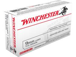 Winchester USA Ammunition 9mm Luger 115 Grain Jacketed Hollow Point Box of 50