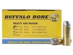 Buffalo Bore Ammunition Outdoorsman 480 Ruger 370 Grain Lead Flat Nose Box of 20