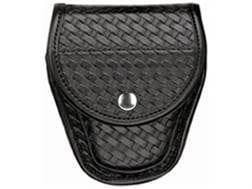 Bianchi 7900 AccuMold Elite Covered Handcuff Case Chrome Snap Basketweave Trilaminate Black