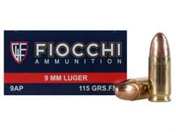 Fiocchi Shooting Dynamics Ammunition 9mm Luger 115 Grain Full Metal Jacket
