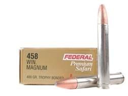 Federal Premium Cape-Shok Ammunition 458 Winchester Magnum 400 Grain Trophy Bonded Bear Claw Box ...