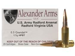 Alexander Arms Ammunition 6.5 Grendel 123 Grain Lapua Scenar Hollow Point Boat Tail Box of 20