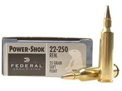 Federal Power-Shok Ammunition 22-250 Remington 55 Grain Soft Point Box of 20