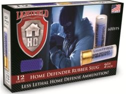 "Lightfield Home Defender Less Lethal Ammunition 12 Gauge 2-3/4"" 130 Grain Rubber Slug Box of 5"