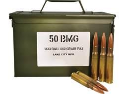 Military Surplus Ammunition 50 BMG 660 Grain M33 Full Metal Jacket Steel Core in Ammo Can