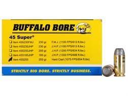 Buffalo Bore Ammunition 45 Super 255 Grain Hard Cast Lead Flat Nose Box of 50