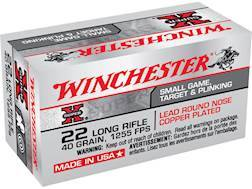 Winchester Super-X High Velocity Ammunition 22 Long Rifle 40 Grain Plated Lead Round Nose