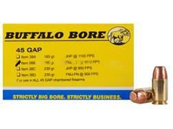 Buffalo Bore Ammunition 45 GAP 185 Grain Full Metal Jacket Flat Nose Box of 20