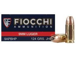 Fiocchi Shooting Dynamics Ammunition 9mm Luger 124 Grain Jacketed Hollow Point Box of 50