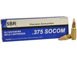 SBR Ammunition 375 SOCOM 250 Grain Sierra Spitzer Boat Tail Box of 20