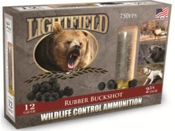 "Lightfield Wildlife Control Less Lethal Ammunition 12 Gauge 2-3/4"" Rubber Buckshot 21 Pellets Box..."