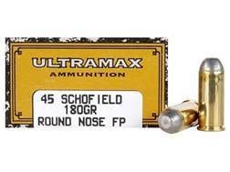Ultramax Cowboy Action Ammunition 45 S&W Schofield 180 Grain Lead Flat Nose Box of 50