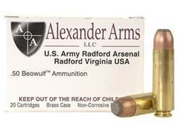 Alexander Arms Ammunition 50 Beowulf 400 Grain Hawk Jacketed Flat Point Box of 20