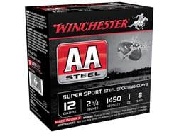 """Winchester AA Super Sport Sporting Clays Ammunition 12 Gauge 2-3/4"""" 1 oz #8 Non-Toxic Steel Shot"""