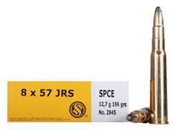 Sellier & Bellot Ammunition 8x57mm JRS (8mm Rimmed Mauser) 196 Grain Soft Point Cutting Edge Box ...