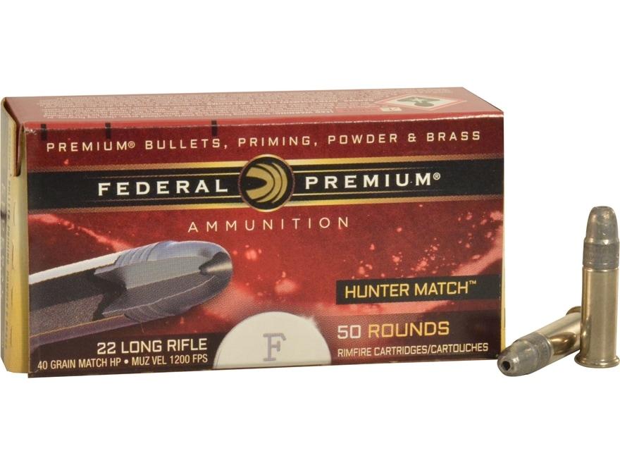 Federal Premium Hunter Match Ammunition 22 Long Rifle High Velocity 40 Grain Lead Hollo...