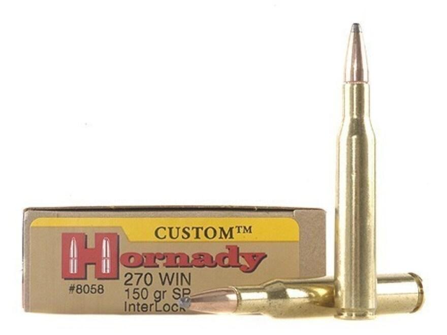 Hornady Custom Ammunition 270 Winchester 150 Grain InterLock Spire Point Box of 20