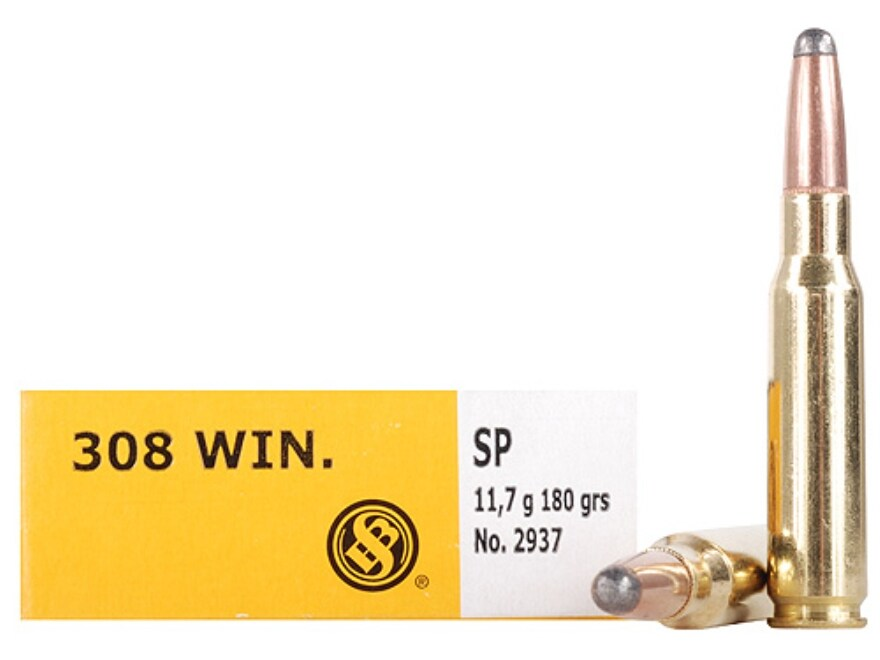 Sellier & Bellot Ammunition 308 Winchester 180 Grain Semi-Jacketed Soft Point Box of 20