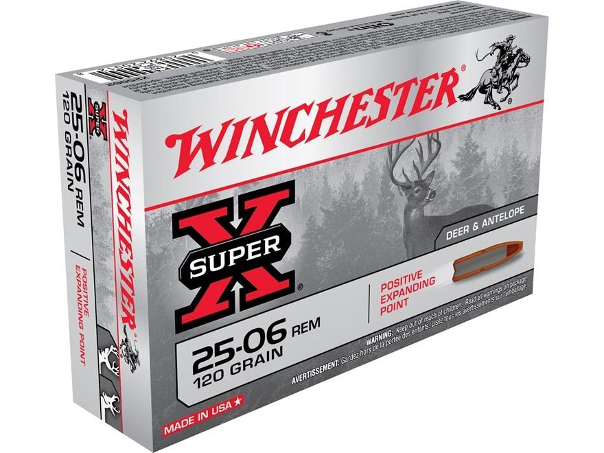 Winchester Super-X Ammunition 25-06 Remington 120 Grain Positive Expanding Point