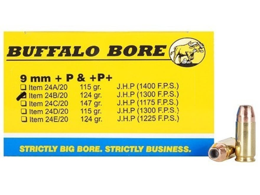 Buffalo Bore Ammunition 9mm Luger +P+ 124 Grain Jacketed Hollow Point Box of 20