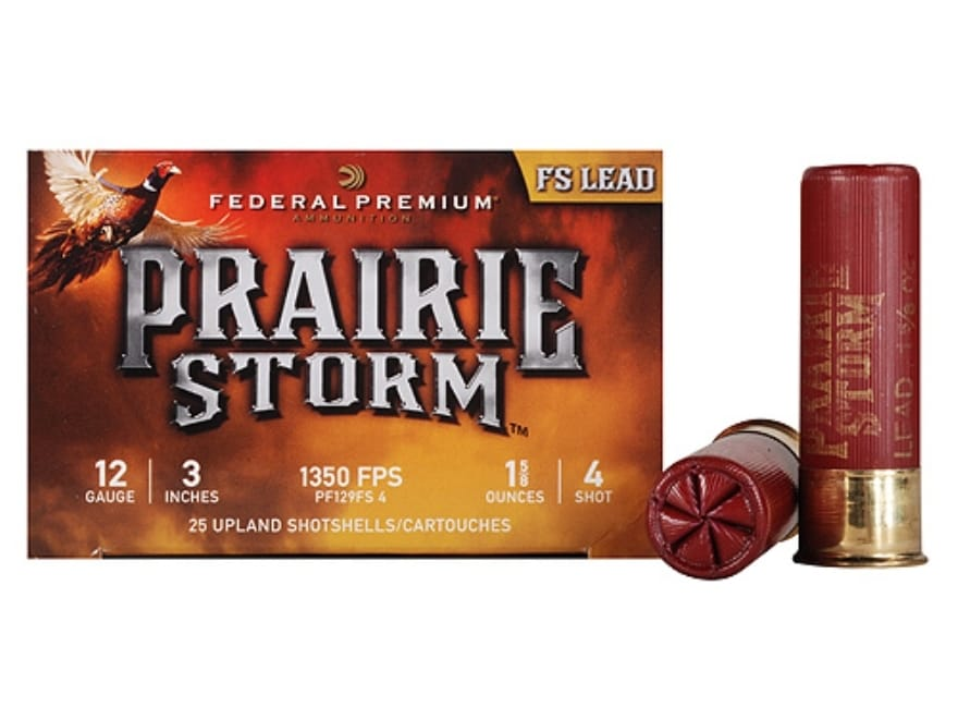 "Federal Premium Prairie Storm Ammunition 12 Gauge 3"" 1-1/4 oz #4 Plated Shot"