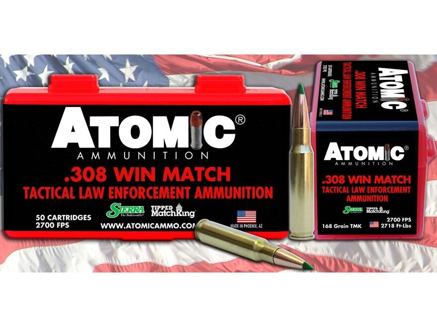 Atomic Tactical LE Ammunition 308 Winchester 168 Grain Sierra Tipped MatchKing (TMK)  B...