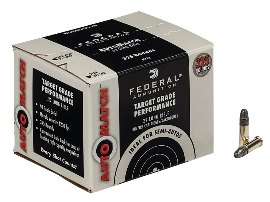 Federal AutoMatch Target Ammunition 22 Long Rifle 40 Grain Lead Round Nose