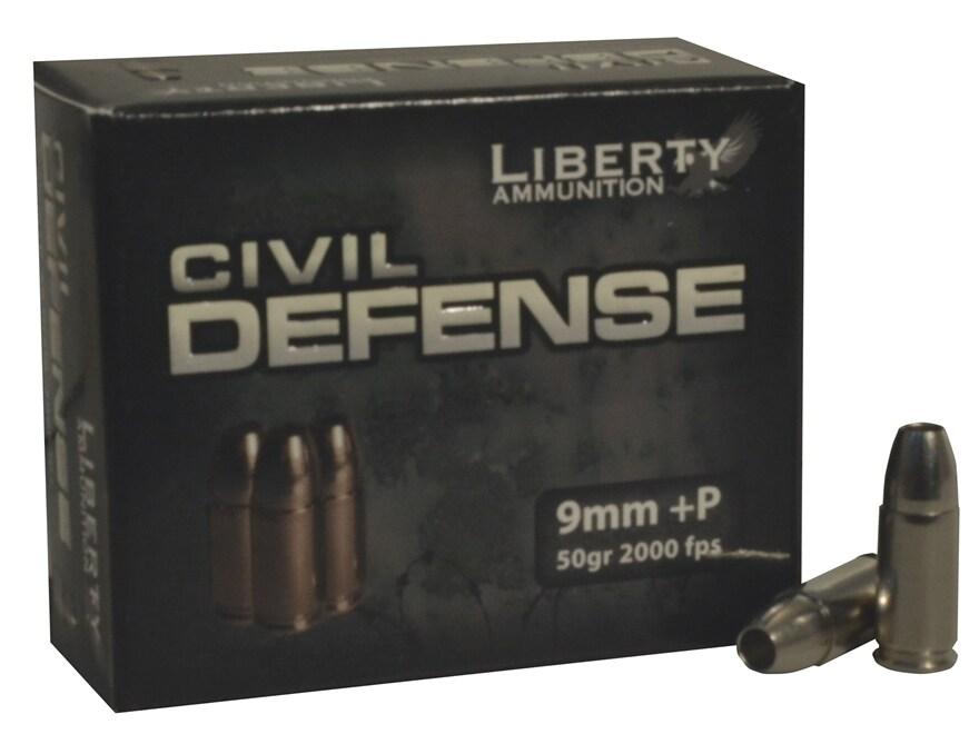 Liberty Civil Defense Ammunition 9mm Luger +P 50 Grain Fragmenting Hollow Point Lead-Fr...
