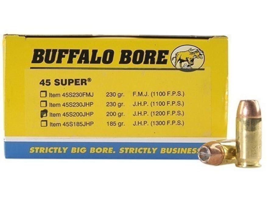Buffalo Bore Ammunition 45 Super 200 Grain Jacketed Hollow Point Box of 50