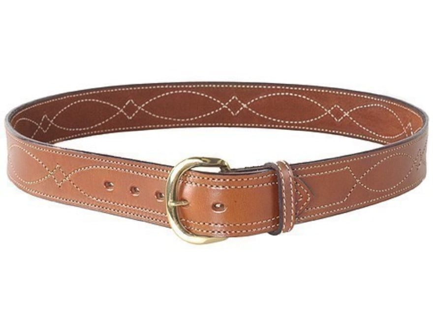 """Bianchi B9 Fancy Stitched Belt 1.75"""" Suede Lined Leather"""