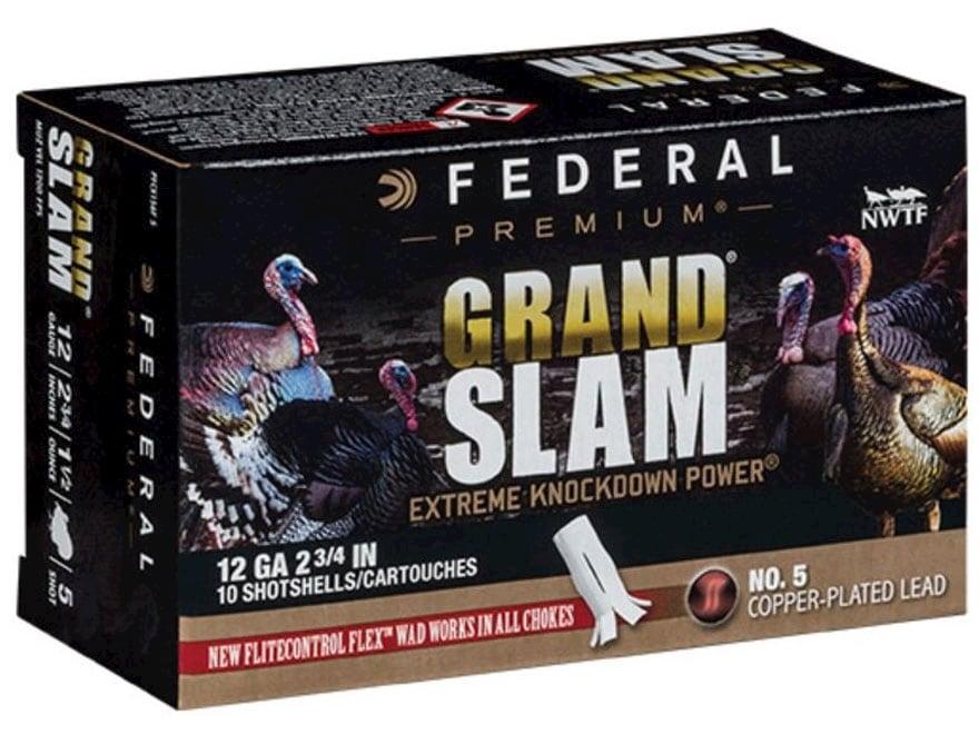 """Federal Premium Grand Slam Turkey Ammunition 12 Gauge 2-3/4"""" 1-1/2 oz Buffered #5 Coppe..."""
