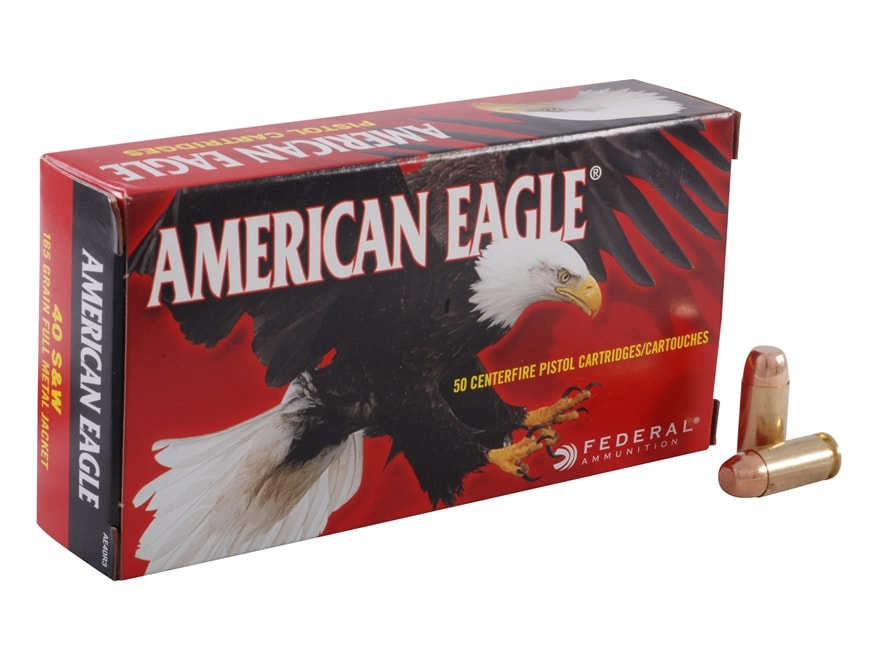 Federal American Eagle Ammunition 40 S&W 165 Grain Full Metal Jacket Box of 50