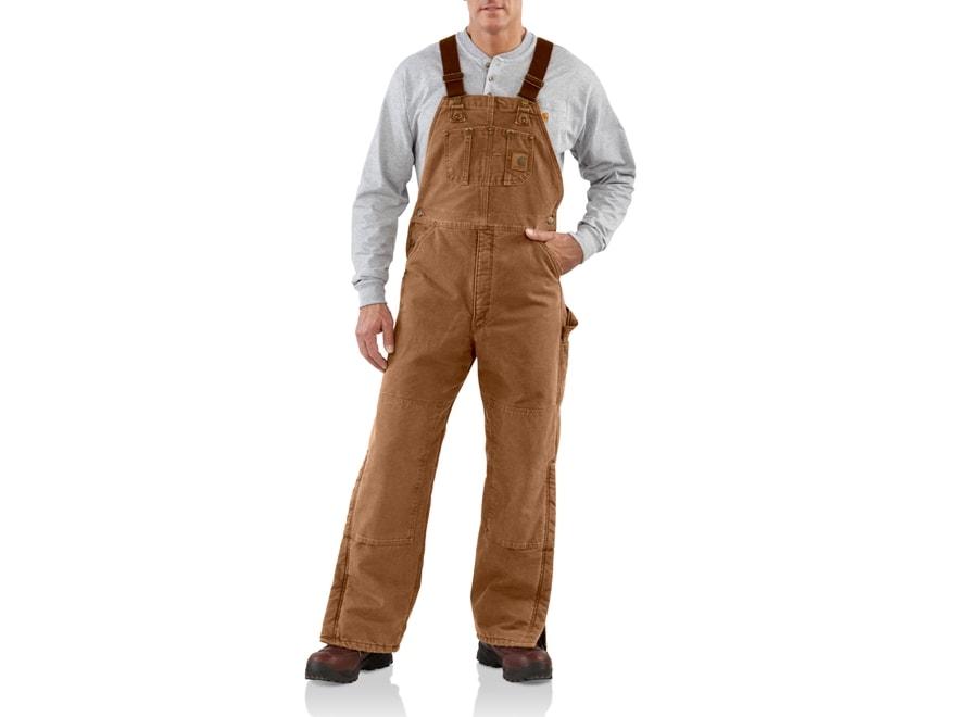 Carhartt Men's Quilt Lined Sandstone Bib Overalls Cotton