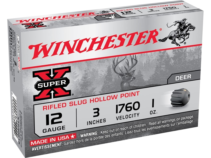 "Winchester Super-X Ammunition 12 Gauge 3"" 1 oz Rifled Slug"