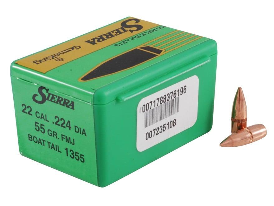 Sierra GameKing Bullets 22 Caliber (224 Diameter) 55 Grain Full Metal Jacket Boat Tail ...