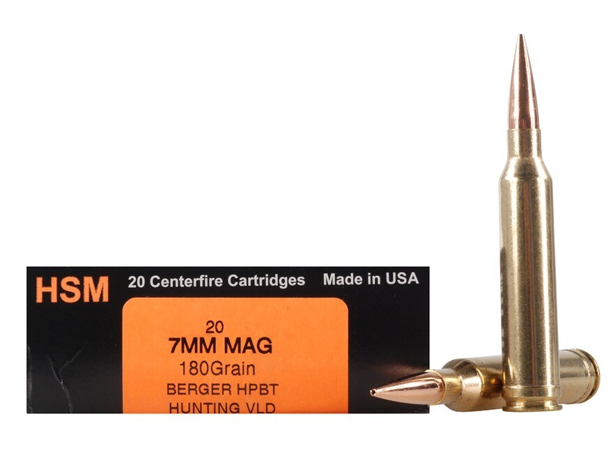 HSM Trophy Gold Ammunition 7mm Remington Magnum 180 Grain Berger Hunting VLD Hollow Poi...