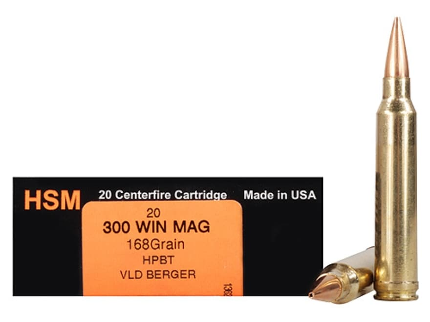 HSM Trophy Gold Ammunition 300 Winchester Magnum 168 Grain Berger Hunting VLD Hollow Po...
