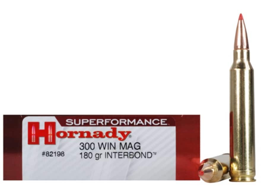 Hornady Superformance Ammunition 300 Winchester Magnum 180 Grain InterBond Boat Tail Bo...
