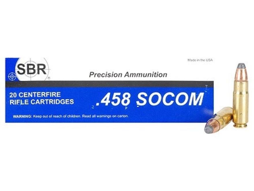 SBR Ammunition 458 SOCOM 350 Grain Jacketed Soft Point Box of 20