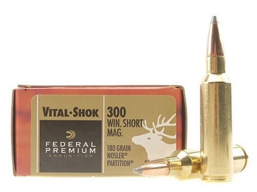 Federal Premium Vital-Shok Ammunition 300 Winchester Short Magnum (WSM) 180 Grain Nosle...
