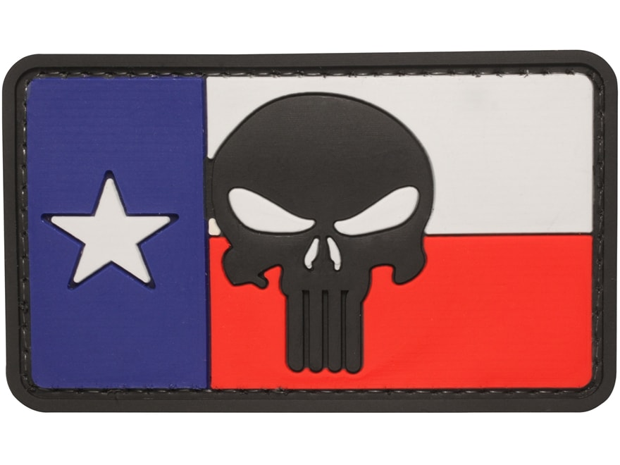 "5ive Star Gear Texas Flag Punisher PVC Morale Patch Red, White, and Blue  2"" x 3"""