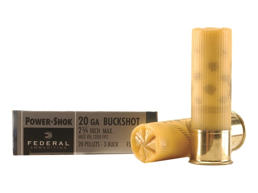 """Federal Power-Shok Ammunition 20 Gauge 2-3/4"""" Buffered #3 Buckshot 20 Pellets"""